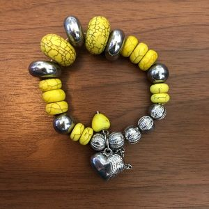 Yellow and silver beaded bracelet